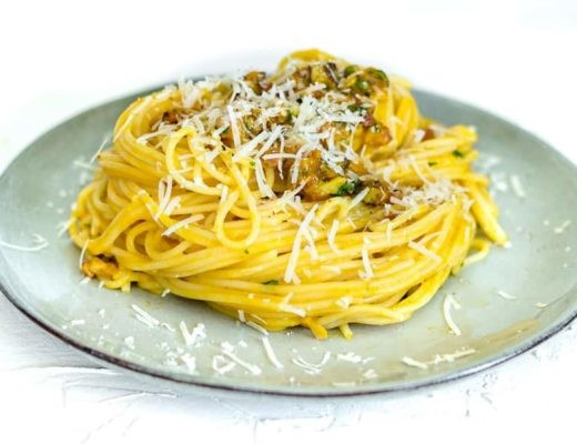Pumpkin Carbonara on plate horizontal