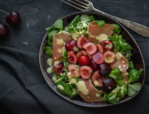 Summer salad with cherries and serrano horizontal