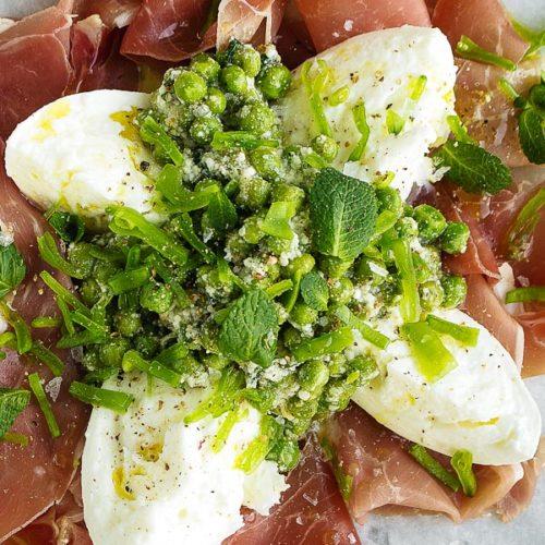 Mozzarella with Prosciutto and peas, recipe