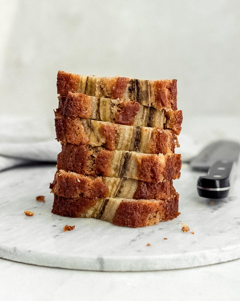 Banana bread stacked on plate