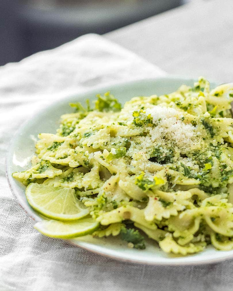 Pasta with kale pesto on plate