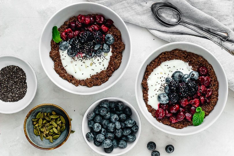 Chocolate quinoa topped with berries
