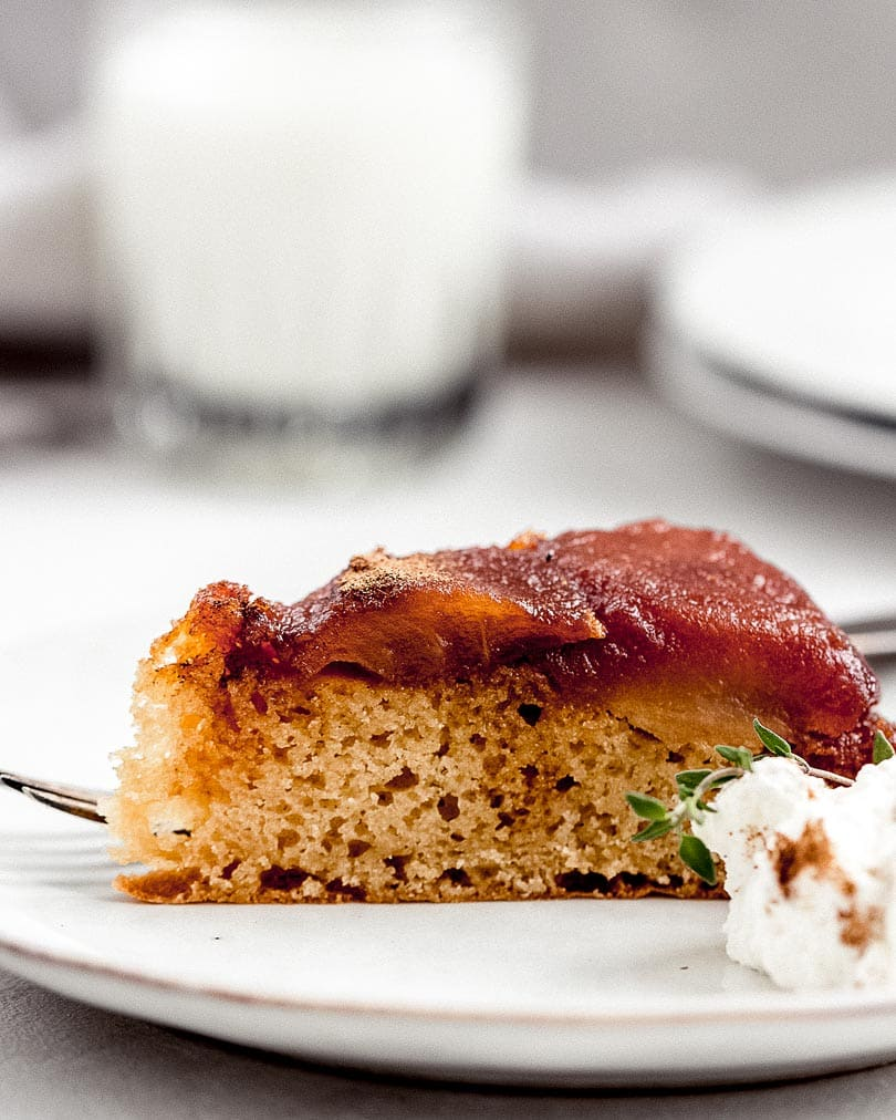Piece of Caramelized apple cake on plate