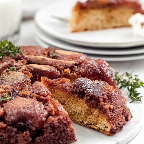 Caramelized apple cake on plate