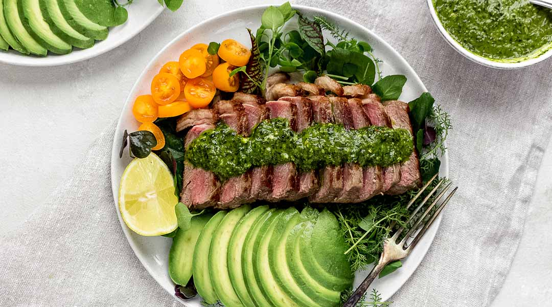 Steak Salad with chimichurri and avocados - featured