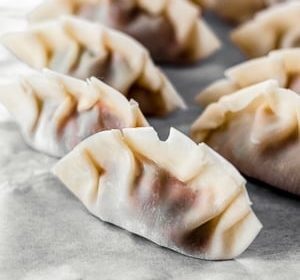 Chicken potstickers with soy honey chili sauce