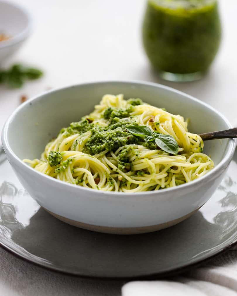 Creamy broccoli pesto with parmesan and pecan nuts